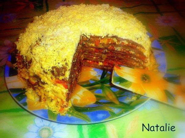Печеночный торт с вареной печенью фото