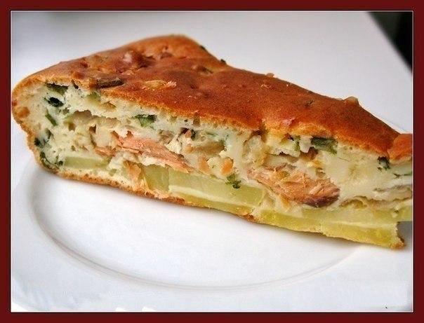 Рецепт рыбного пирога с жидкого теста из консервы