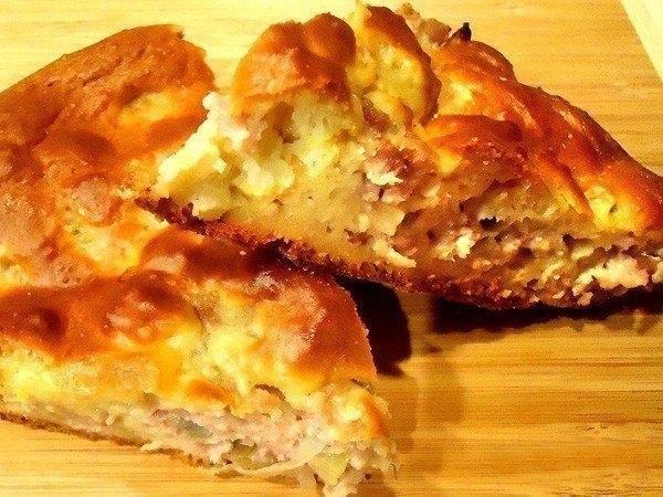 Тесто на пирог из кефира с мясом и картошкой с фото